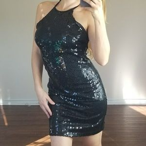 Vintage Bebe Black Sequin New Years Halter Dress